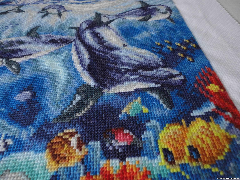 """""""Дельфины """".  Схема из серии  """"Чудесные мгновения """".  Канва Аида 14, размер 195х132 крестика, кол-во цветов 51..."""