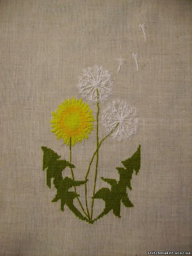 Вышивка узелками одуванчик