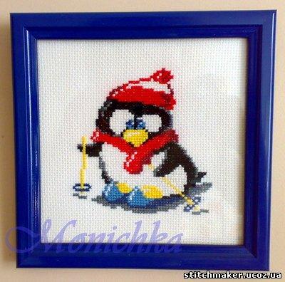 Пингвиненок-лыжник