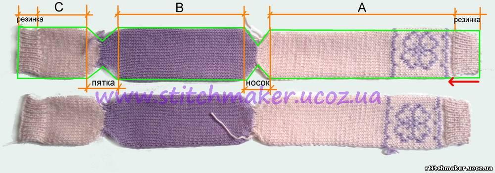 Вязанные носочки на 2 спицах