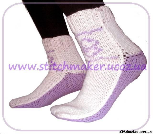 вязания носков на двух